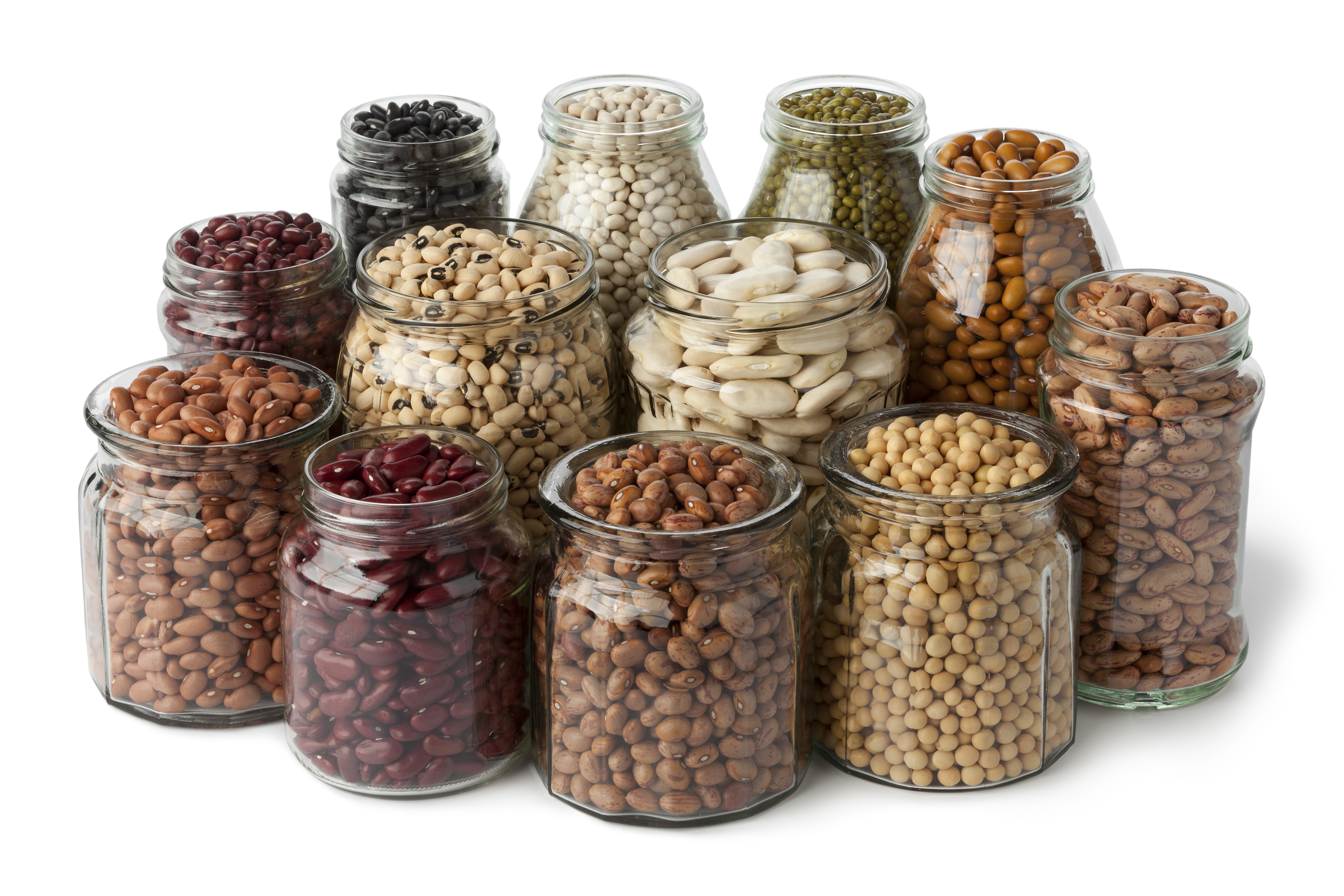 Glass pots with dried beans