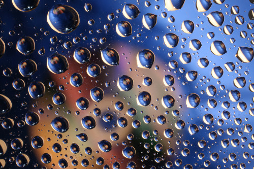 Water drops on plastic surface